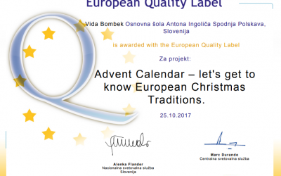 Mednarodna projekta Eur' Christmas in Advent Calendar