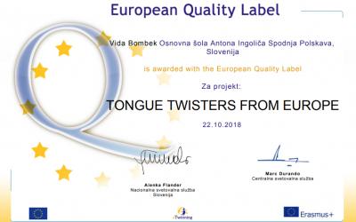Evropski znak kakovosti 2018
