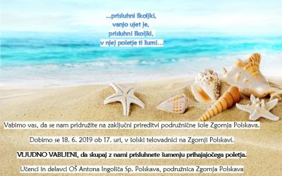 Vabilo zaključna prireditev na Zgornji Polskavi